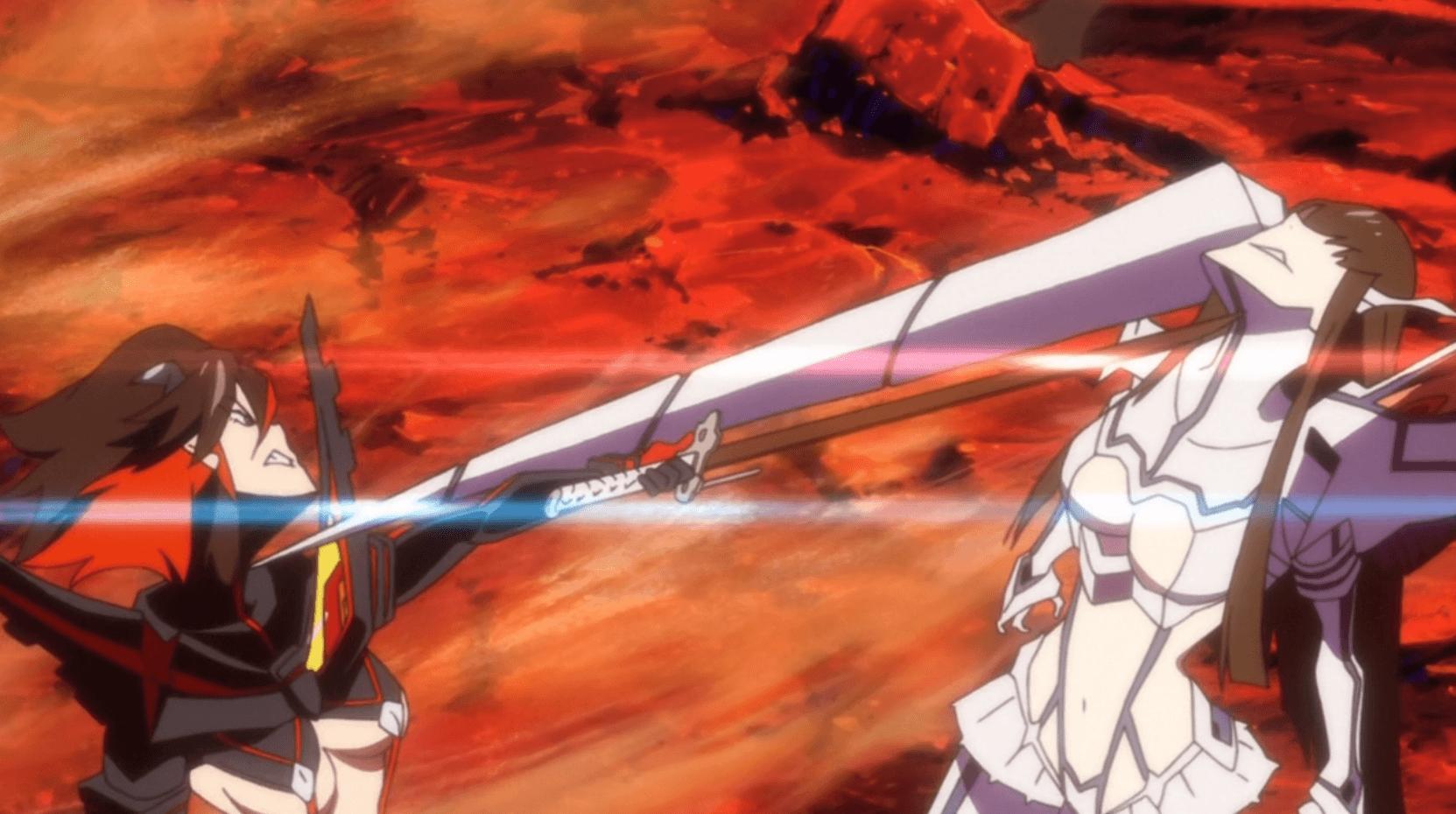 Ryuko and Satsuki battle over Senketsu